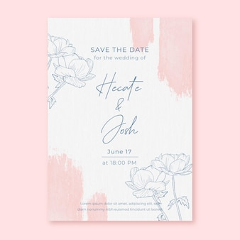 Convite de casamento em aquarela com flores