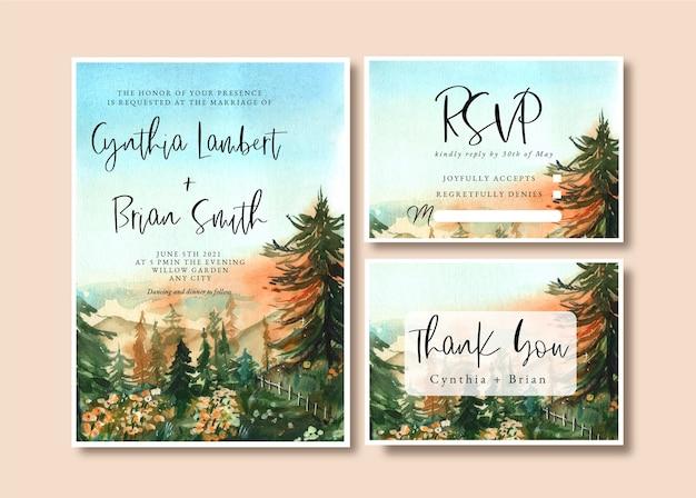 Convite de casamento em aquarela com floresta e céu ao nascer do sol