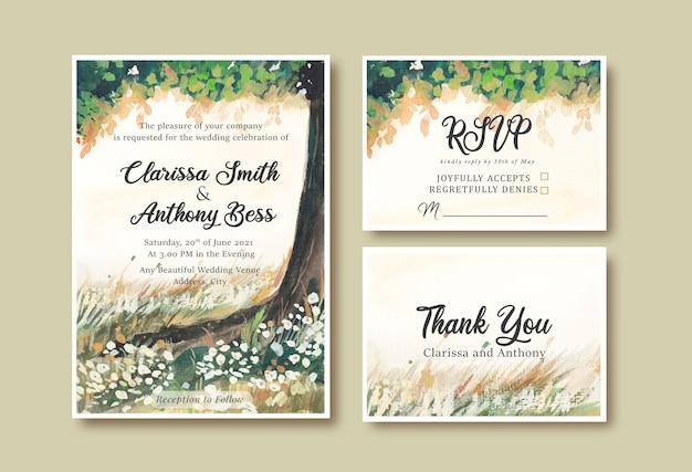 Convite de casamento em aquarela com jardim paisagístico, árvores e céu amarelo