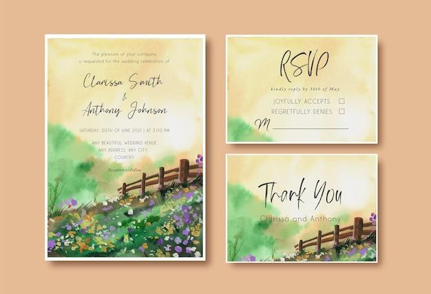 Convite de casamento em aquarela com jardim paisagístico e céu amarelo