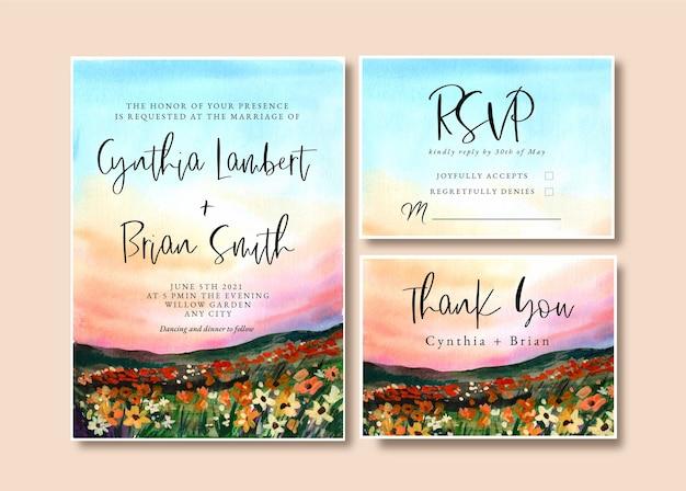 Convite de casamento em aquarela com jardim paisagístico e céu ao pôr do sol