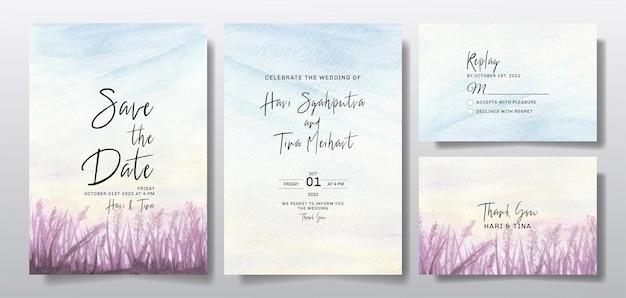 Convite de casamento em aquarela com paisagem de céu e grama