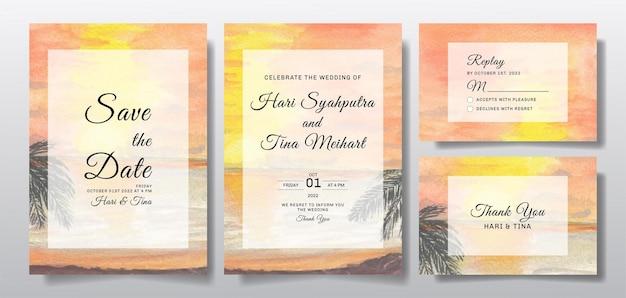 Convite de casamento em aquarela com paisagem do pôr do sol