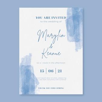 Convite de casamento em aquarela com pinceladas