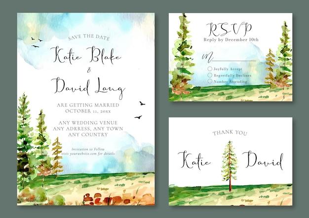 Convite de casamento em aquarela com pinheiros no campo verde e pássaros no céu azul