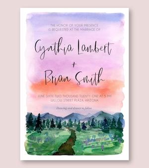Convite de casamento em aquarela com pintura de paisagem roxa