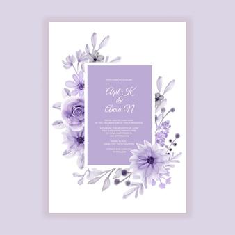 Convite de casamento em aquarela de flores roxas em tons pastéis