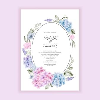 Convite de casamento em aquarela de hortênsia rosa azul