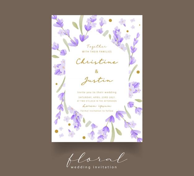 Convite de casamento em aquarela de lavanda