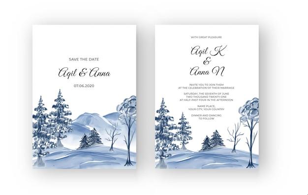 Convite de casamento em aquarela de paisagem de montanha de inverno