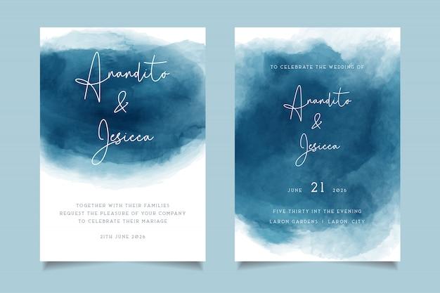 Convite de casamento em aquarela elegante ondas azuis com estilo abstrato