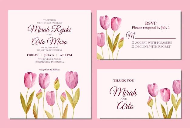 Convite de casamento em aquarela floral de tulipa pintado à mão