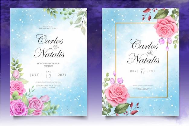 Convite de casamento em aquarela floral e modelo de cartão de folhas