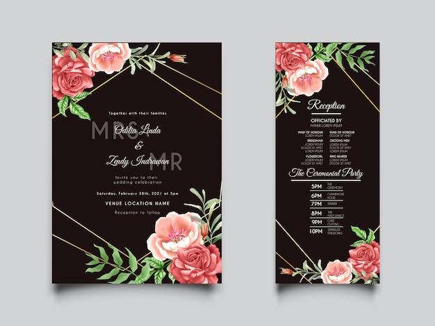 Convite de casamento em aquarela floral elegante com lindas rosas