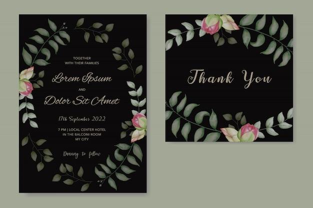 Convite de casamento em aquarela floral