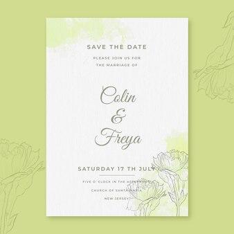 Convite de casamento em aquarela minimalista
