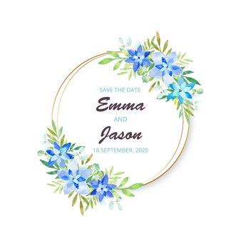 Convite de casamento em aquarela moldura floral.