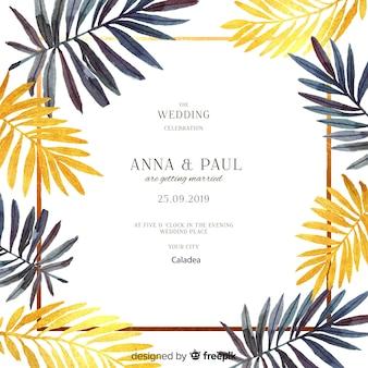 Convite de casamento em aquarela moldura floral