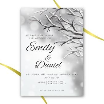 Convite de casamento em aquarela no tema de inverno