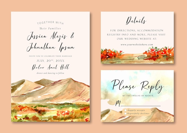 Convite de casamento em aquarela paisagem de campo de grama amarela e paisagem montanhosa