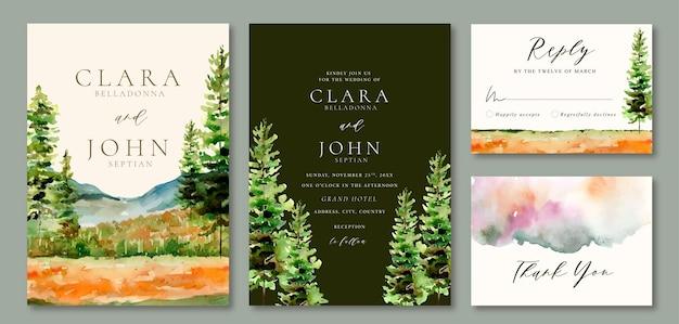 Convite de casamento em aquarela paisagem de campo verde e pinheiros