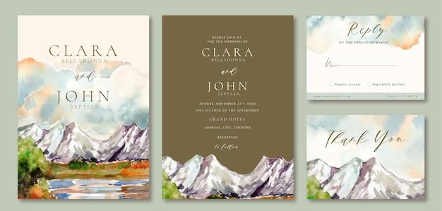 Convite de casamento em aquarela paisagem de icy mountain view e lago