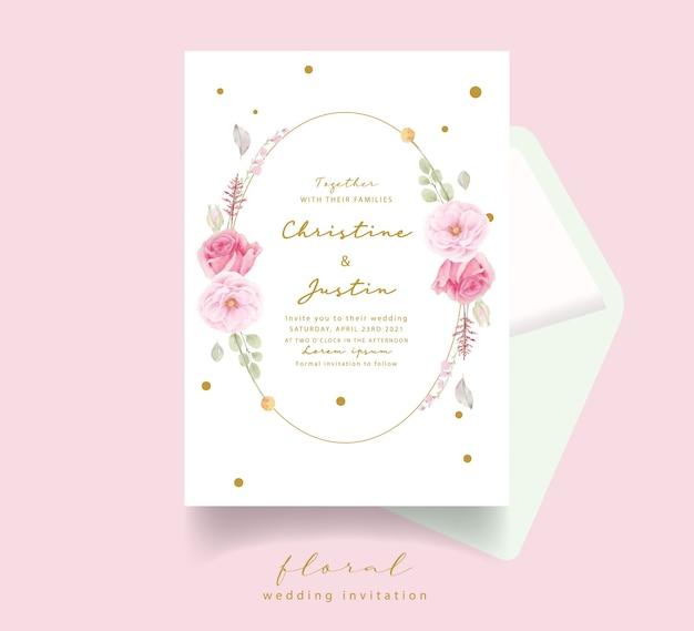 Convite de casamento em aquarela rosa rosa