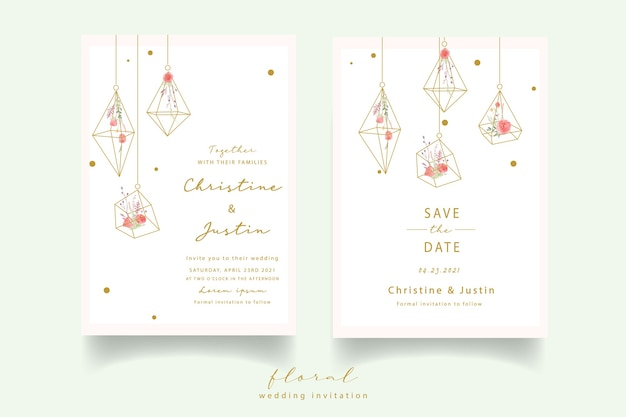 Convite de casamento em aquarela rosa vermelha