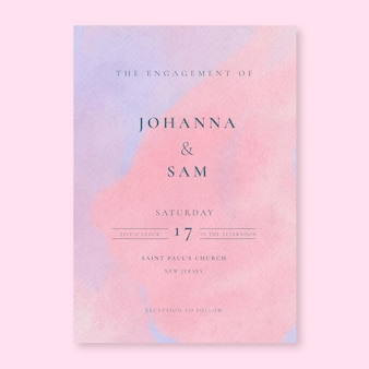 Convite de casamento em aquarela rosa