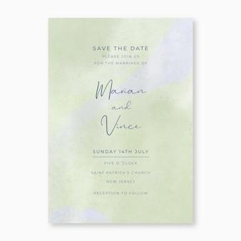 Convite de casamento em aquarela verde