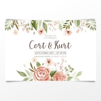 Convite de casamento em aquarela