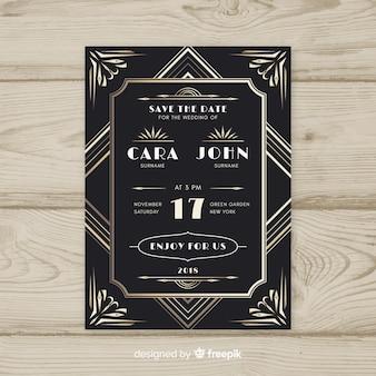 Convite de casamento em design art deco