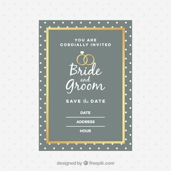 Convite de casamento em estilo plano