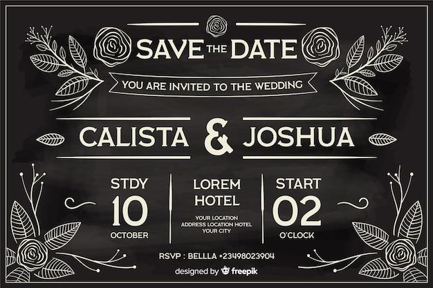 Convite de casamento em estilo retro, escrito no quadro-negro