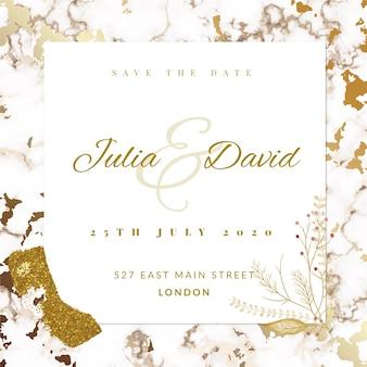 Convite de casamento em mármore elegante modelo