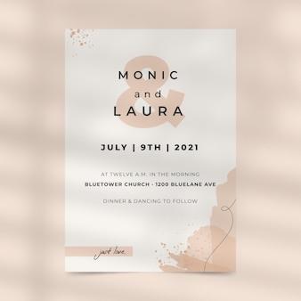 Convite de casamento em monocolor pintado de abstrato