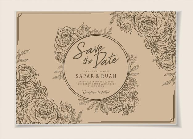 Convite de casamento esboço floral luxo elegante