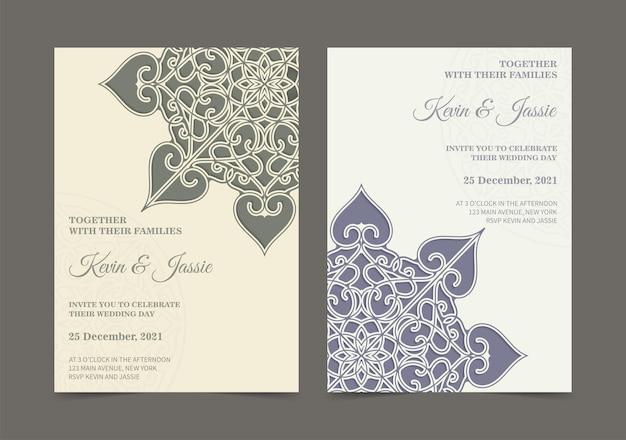 Convite de casamento estilo mandala retrô