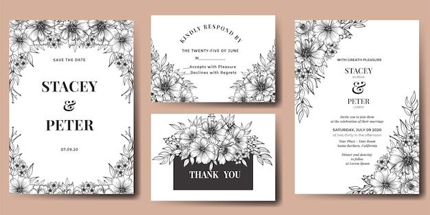 Convite de casamento flor gerbera desenhada à mão