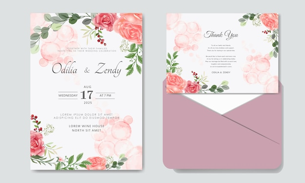 Convite de casamento flor romântica