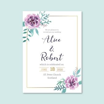Convite de casamento floral agradável