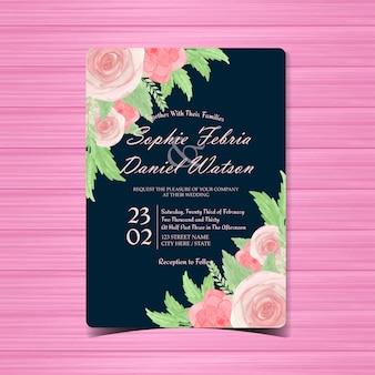 Convite de casamento floral aquarela com lindas rosas cor de rosa
