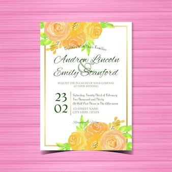 Convite de casamento floral aquarela com lindas rosas