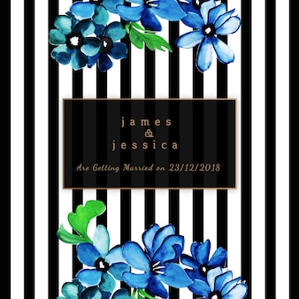Convite de casamento Floral aquarela com padrão de listras