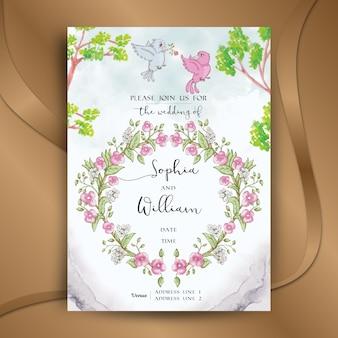 Convite de casamento floral aquarela e pastel bonita com pássaros bonitos