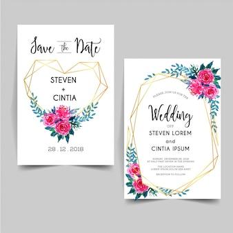 Convite de casamento floral aquarela linda geométrica