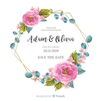 Convite de casamento floral aquarela moldura