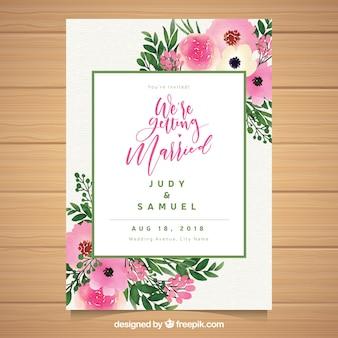 Convite de casamento floral aquarela tamplate