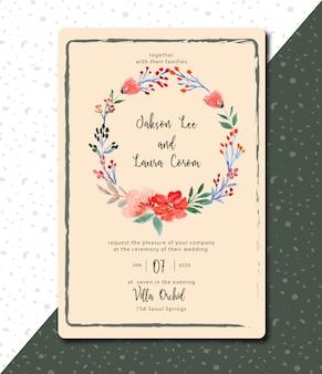 Convite de casamento floral aquarela vintage