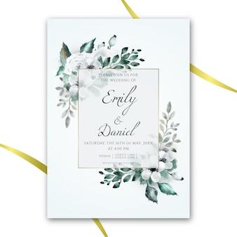 Convite de casamento floral aquarela